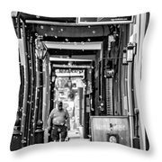 Bubbly French Quarter - Bw Throw Pillow