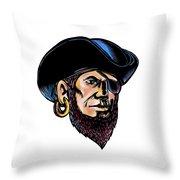 Buccaneer Eye Patch Scratchboard Throw Pillow