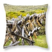 Buck And Rail Fence In The High Country Throw Pillow