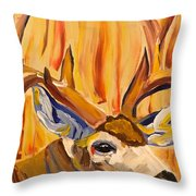 Buck In Fiery Sunset Throw Pillow