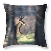 Buck Running Thru The Woods Throw Pillow