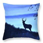 Buck Silhouette In Blue Throw Pillow
