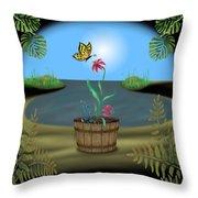Bucket Butterfly Throw Pillow