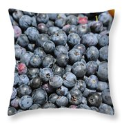 Bucket Of Blueberries Throw Pillow