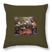 Bucket Of Flowers Throw Pillow