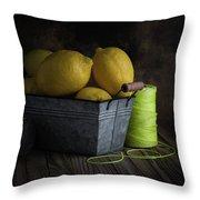 Bucket Of Lemons Throw Pillow