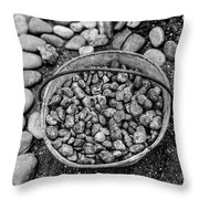 Bucket Of Rocks In Black And White Throw Pillow