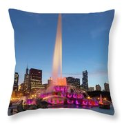 Buckingham Fountain At Dusk II Throw Pillow