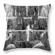 Buckingham Fountain Closeup Black And White Throw Pillow