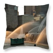 Buckingham Fountain Sidelight  Throw Pillow