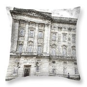Buckingham Palace London Snow Throw Pillow