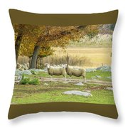 Bucolic Sheep In Mystic  Throw Pillow