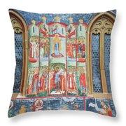 Bucovina Monastery Fresco Throw Pillow