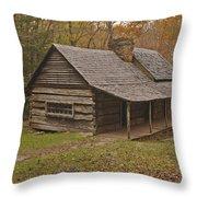 Bud Ogle Cabin Fall  Throw Pillow