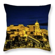Buda Castle At Night Throw Pillow