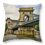 Budapest - Chain Bridge Throw Pillow