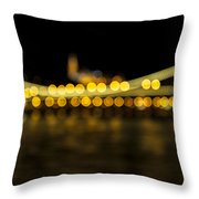 Budapest Bokeh Bridge 2 Throw Pillow