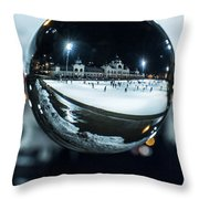 Budapest Globe - City Park Ice Rink Throw Pillow
