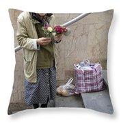 Budapest Flower Woman Throw Pillow