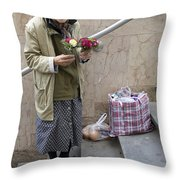 Budapest Flower Woman Throw Pillow