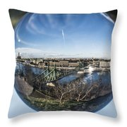 Budapest Globe - Liberty Bridge Throw Pillow