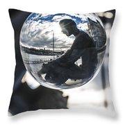 Budapest Globe - Statue Of Jozsef Attila Throw Pillow