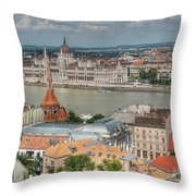 Budapest Overview Throw Pillow