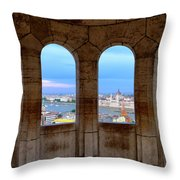 Budapest Parliament From The Fishermans Bastion Throw Pillow