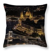 Budapest View At Night Throw Pillow