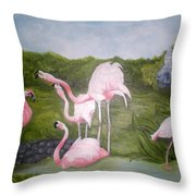 Buddah And The Flamingos Throw Pillow
