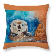 Buddha And The Divine Otter No. 1374 Throw Pillow