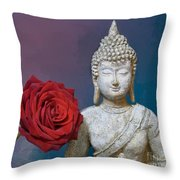 Buddha And Rose Throw Pillow