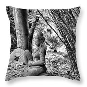 Buddha Black White Liberia Parish  Throw Pillow
