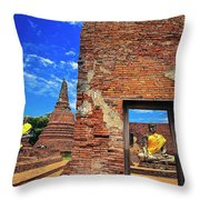 Buddha Doorway At Wat Worachetha Ram In Ayutthaya, Thailand Throw Pillow