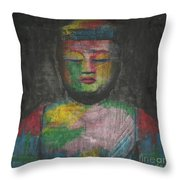 Buddha Encaustic Painting Throw Pillow