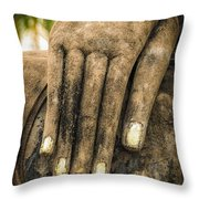 Buddha Hand Throw Pillow by Adrian Evans