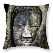 Buddha Head In Banyan Tree Throw Pillow