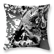 Buddha In Black And White Throw Pillow
