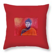 Buddha In Red Throw Pillow