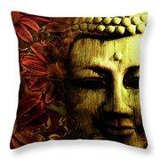 Buddha In Red Chrysanthemums Throw Pillow