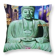 Buddha In The Metropolis Throw Pillow