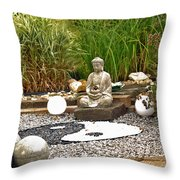 Buddha Looks At Yin And Yang Throw Pillow