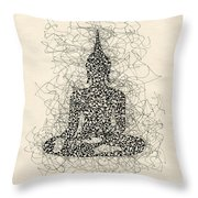 Buddha Pen And Ink Drawing Throw Pillow