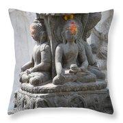 Buddha Statue At Temple - Swayambunat  Throw Pillow