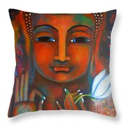 Buddha With A White Lotus In Earthy Tones Throw Pillow by Prerna Poojara