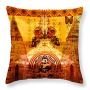 Buddha With Butterflies Throw Pillow