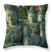 Buddhas All In A Row Throw Pillow