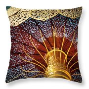 Buddhas Path To Enlightenment, Golden Umbrella Throw Pillow