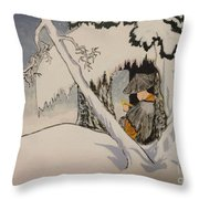 Buddhist Cleric Nichiren In Exile And Homage To Yoshitoshi Throw Pillow