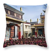 Buddhist Monastery In Full Attendance Throw Pillow by Nila Newsom